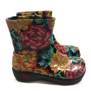 Alegria Patent Leather Floral Ankle Boots